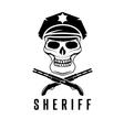 sheriff skull in cap and shotguns design template vector image
