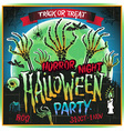 Halloween party horror night poster design vector image