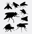 Flies insect animal silhouette vector image