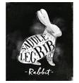rabbit cutting scheme chalk vector image vector image