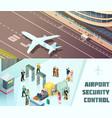 airport horizontal isometric banners vector image