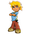 Blonde Boy With Headphones vector image
