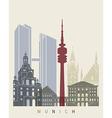 Munich skyline poster vector image