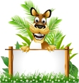cute dog with blank sign vector image vector image