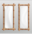 bamboo frame realistic bamboo stems with vector image