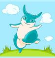 joyful fun blue bunny jumps across the lawn vector image