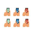 Mobile emergency call with hand holding vector image