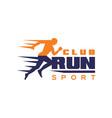 run sport club logo template emblem with running vector image