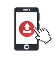 smartphone with arrow upload vector image