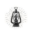 vintage hand drawn kerosene lamp on sunburst vector image
