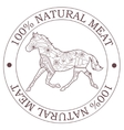 Natural meat stamp with horse vector image vector image