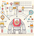 Infographic robot standing confidently of chart vector image vector image