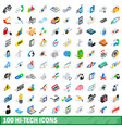 100 hi-tech icons set isometric 3d style vector image
