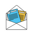 color sectors silhouette of opened envelope mail vector image