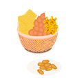 Traditional Thai Dessert Golden Sweet Meat vector image vector image