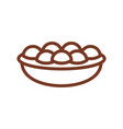 pie line icon sign for production of bread and vector image