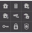 black home security icons set vector image