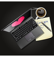 laptop and note paper with black coffee vector image