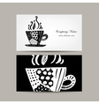 Business card template coffee cup design vector image vector image