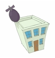 Bomb hit the home icon cartoon style vector image