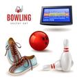 Bowling Icons Set vector image