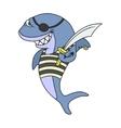 Cartoon pirate shark vector image