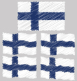 Flat and Waving Hand Draw Sketch Flag of Finland vector image