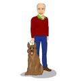 happy senior man standing with king shepherd dog vector image