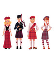 scottish people in traditional national costumes vector image