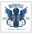Vintage motorcycle print Monochrome on white vector image