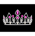 tiara crown womens wedding with pink stones vector image vector image