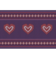 Jacquard pattern with red hearts on purple vector image