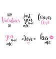 romantic calligraphy inscriptions set manual text vector image