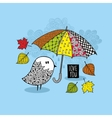 Cute doodle bird under the colorful umbrella vector image