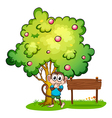 A monkey and an empty signboard under the tree vector image