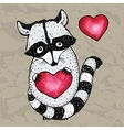 Raccoon carrying a heart vector image vector image