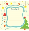 Christmas letter template to Santa Claus for print vector image