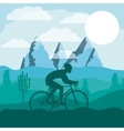 cycling race with beautiful landscape background vector image