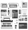 black and white powerful batteries collection vector image