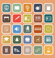 classroom flat icons on orange background vector image