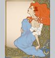 vintage cover with art-nouveau style lady vector image