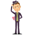 Young man with a bouquet of flowers vector image