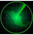Radar screen with the silhouette of Mexico vector image