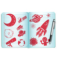 Notebook full with science symbols vector image