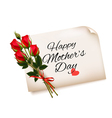 Happy Mothers Day note with red roses background vector image vector image
