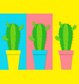 cactus icon in flower pot icon set minimal flat vector image