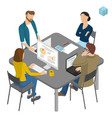 isometric people working in office vector image