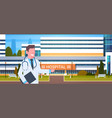 male doctor standing over hospital building vector image