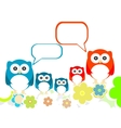 owls family speech in love on a flowery landscapes vector image