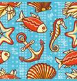 seamless pattern marine ornament vector image